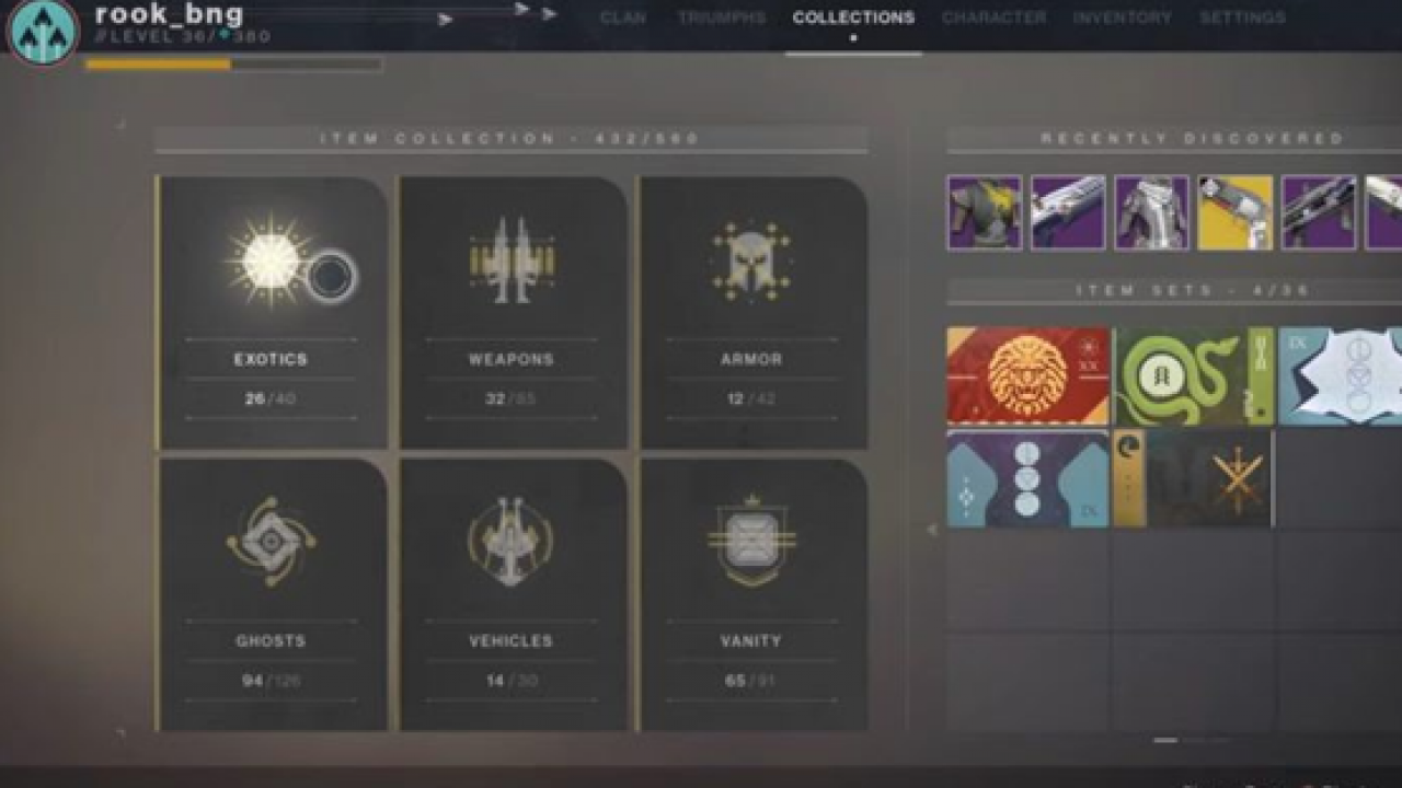 Destiny 2 Collections Track Everything Earned Back to Warmind Launch