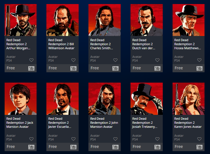 Free Red Dead Redemption 2 Avatars Available