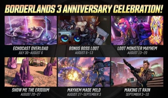 borderlands 3 anniversary celebration