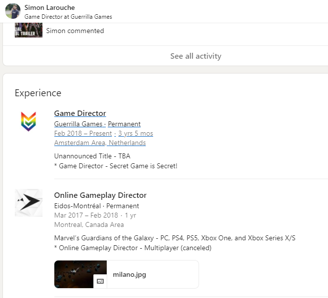 Dev's LinkedIn Profile States Guerrilla Games Has an Unannounced, 'Secret' Title in the Works